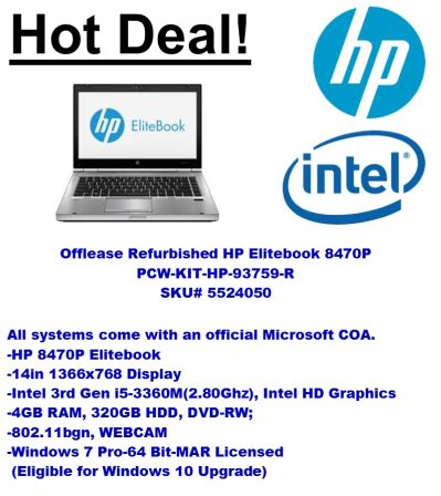 HOT Deal – Refurbished MAR HP 8470p Elitebook